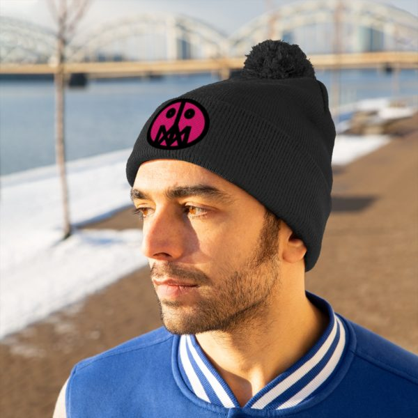 Pink MSTR Face on Pom Pom Beanie 20