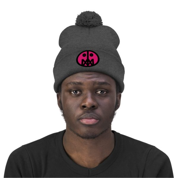 Pink MSTR Face on Pom Pom Beanie 11