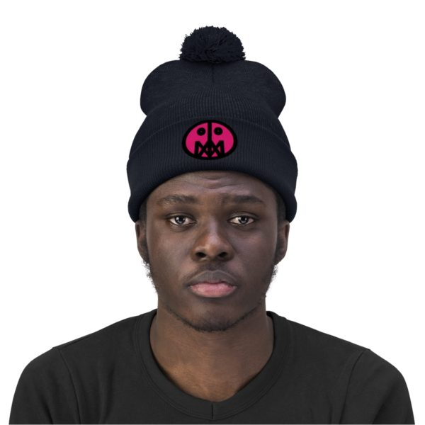 Pink MSTR Face on Pom Pom Beanie 23