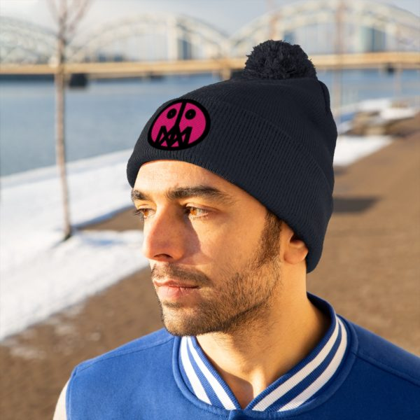 Pink MSTR Face on Pom Pom Beanie 24