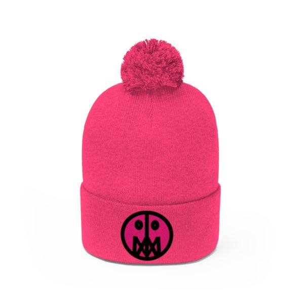 Pink MSTR Face on Pom Pom Beanie 30