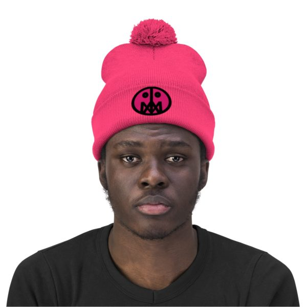 Pink MSTR Face on Pom Pom Beanie 31