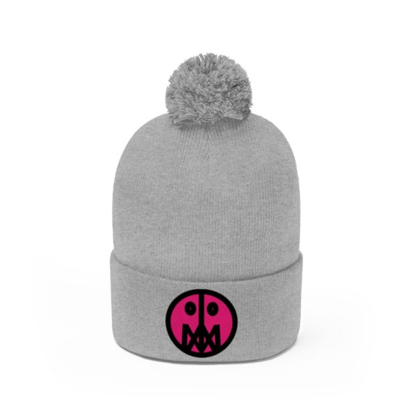 Pink MSTR Face on Pom Pom Beanie 2