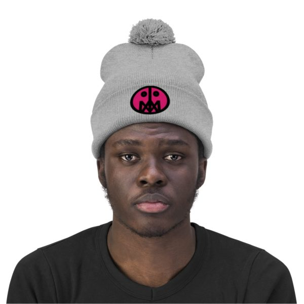 Pink MSTR Face on Pom Pom Beanie 3