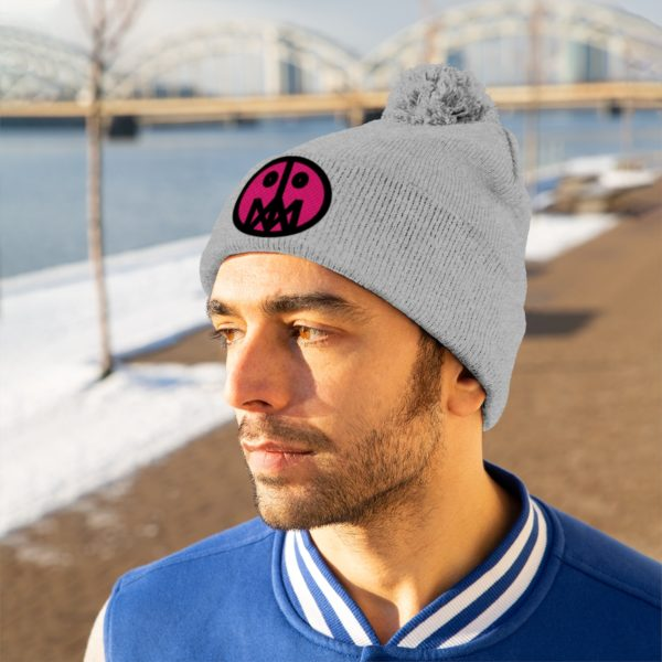 Pink MSTR Face on Pom Pom Beanie 4