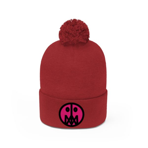 Pink MSTR Face on Pom Pom Beanie 34