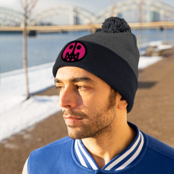 Pink MSTR Face on Pom Pom Beanie 16